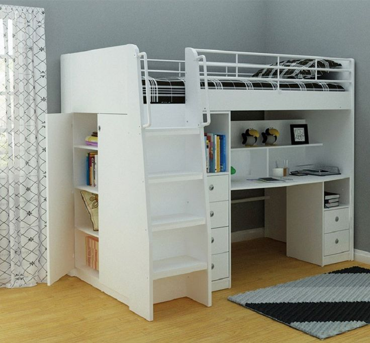 norman midi sleeper bunk bed with movable desk chest and cupboard in ivory king single bunk beds kids bedroom kids furniture