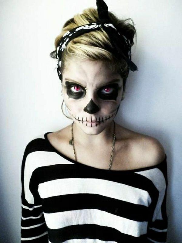 squelette idée de tuto du maquillage de Halloween artistique