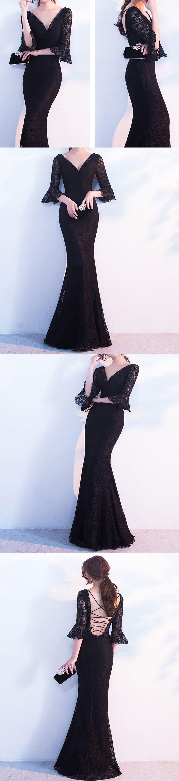 Elegant black lace prom dress,Popular half speaker sleeve prom dress,Sexy mermaid lace up back prom dresses, PD21004