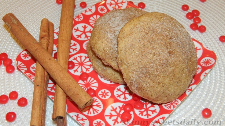 Skinny Sweets Daily: Large Cinnamon Snicker doodle Cookies, Lighter Version. A great treat for anytime of year. Click pic for recipe and enjoy!