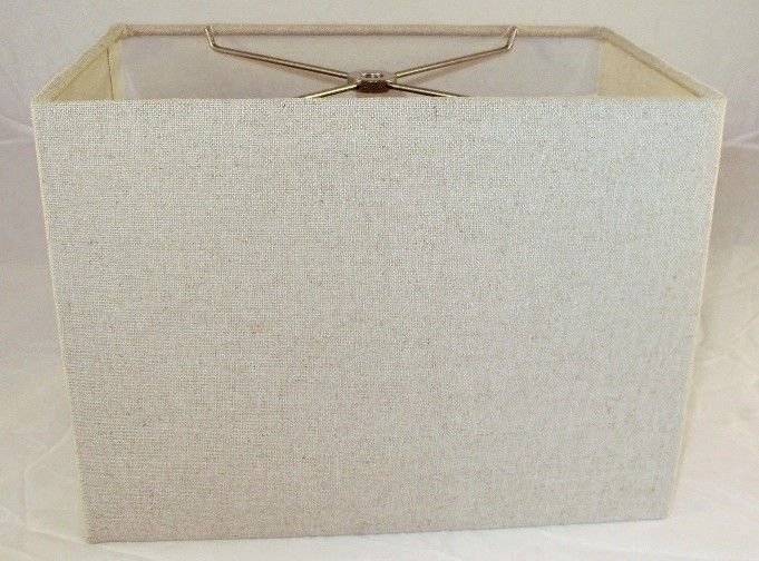 """Natural Linen Rectangle Lamp Shade Straight Sides Neutral Color 11.5""""x11.5""""x8.5"""" #SimonPearceDesignerLampShade"""