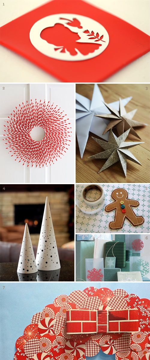 Just few of the Christmas and holiday paper crafts and decoration ideas that have caught my eye this season: 1. papercut polymer clay ornaments by Elsa Mora (I am trying this technique ASAP!) 2. straw-burst wreath at Woman's Day 3....