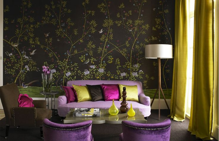 don't ever be afraid of color.: Living Rooms Decor, Spring Color, Decor Ideas, Purple, Interiors Design, Rooms Ideas, Color Combinations, Wallpapers, Interiordesign