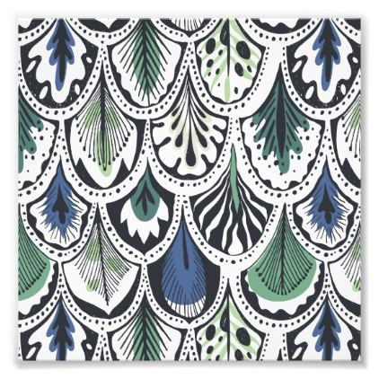 Retro Blue&Green Leaf Ornament Photo Prints - retro gifts style cyo diy special idea