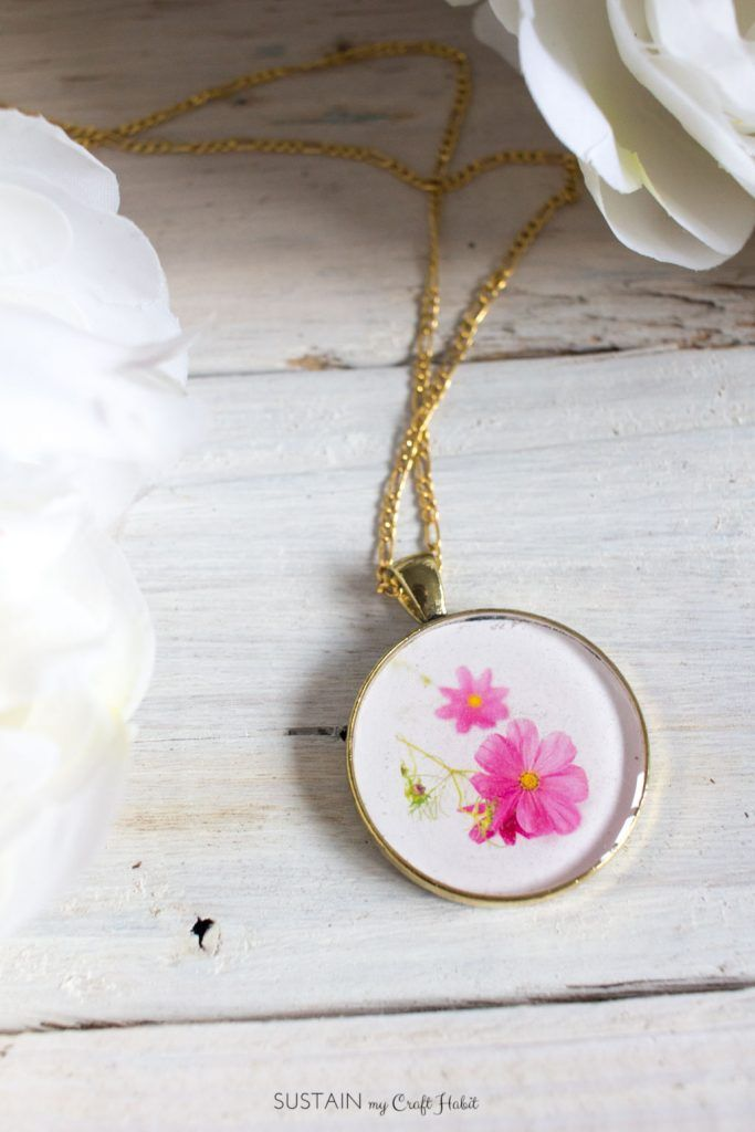 Learn how to make resin jewelry with this DIY birth month flower pendant craft! A unique and thoughtful gift idea for Mother's Day, birthday, or Christmas.