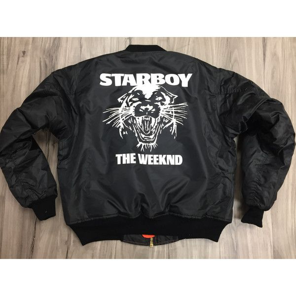 The Weeknd Starboy MA-1 Black Bomber jacket ,starboy,the... ($70) ❤ liked on Polyvore featuring outerwear, jackets, bomber jacket, print jacket, pattern jacket, star jacket and flight jacket