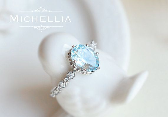 Vintage Inspired Aquamarine Engagement Ring with Diamond