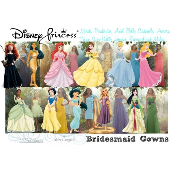 Disney Princess Bridesmaid Gowns by Alfred Angelo I want all (but Jasmine's) just in general- I love them!