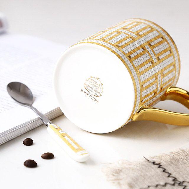 380ml Luxo Ouro Lidar Com Cha Canecas De Cafe Com Colher Osso