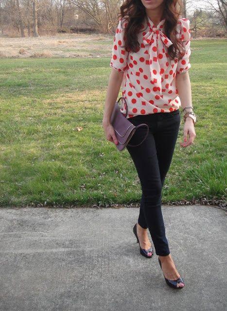 so cute: Polka Dots Tops, Colors Pop, Black Skinny, Skinny Jeans, Polkadot, Bows Shirts, Cute Outfits, Polka Dots Blouses, Lilly Style
