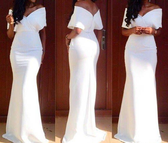 White Dinner Dress Prom Black Gown Mermaid