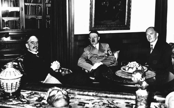 British prime minister Neville Chamberlain (left), German chancellor Adolf Hitler (center), and French premier Edouard Daladier (right) meet in Munich to determine the fate of Czechoslovakia. Germany, September 30, 1938.Was this country even theirs to give away to Germany? It backfired then as surely as attempts to mollify Iran and Palestinians are not going to bring favor to France or even the US as it gambles the fate of other countries.