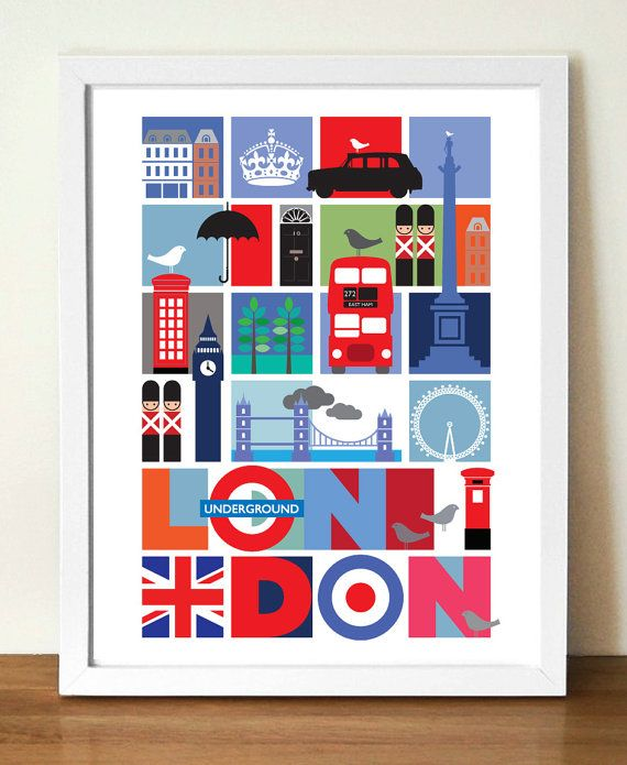 London Travel Poster, City Print - As the famous quote goes,  When a man is tired of London, he is tired of life....  Samuel Johnson  Bring a little bit of vibrant London, into…