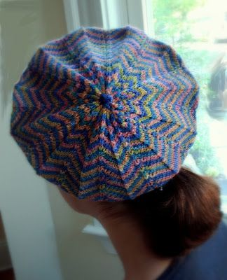 caroline hegwer: La Parisenne FREE Beret Knitting Pattern  Lovely use of self-striping yarn