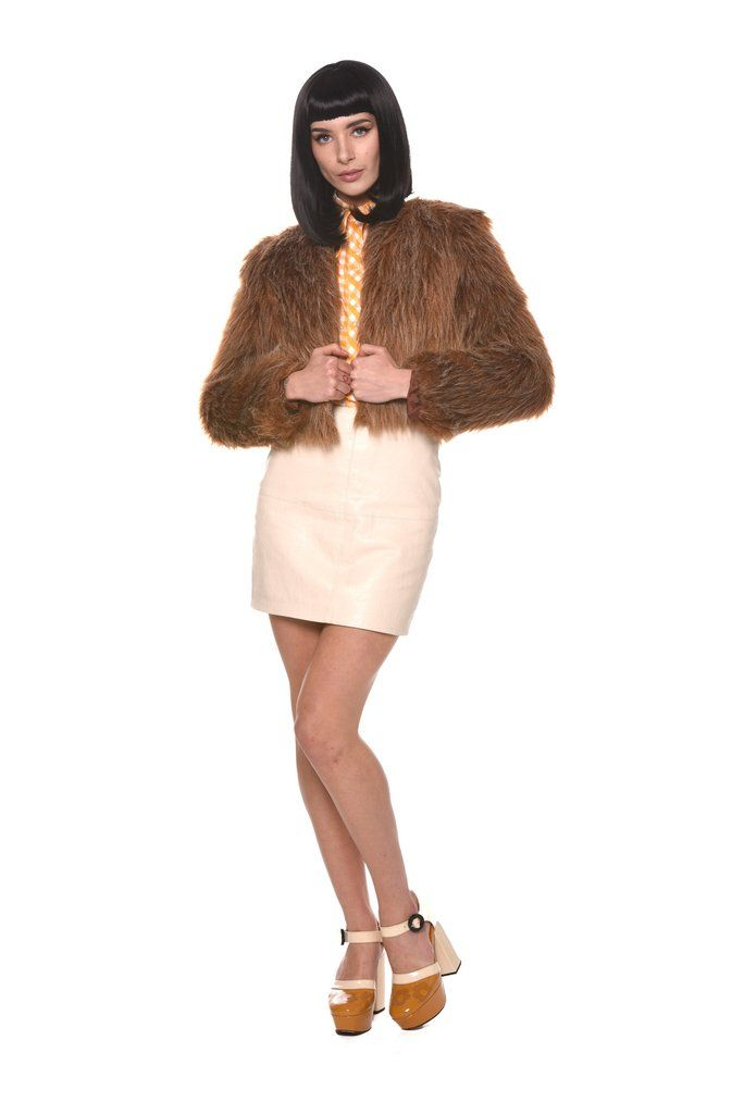 1970s cropped faux fur monkey jacket by Miss Selfridge.This rare find reminds of use of a late 60s early 70s Cher. Boxy shape to accentuate those high waisted trousers or mini skirts you'll be pairing this baby with.Measurements (Small)Best fit Size UK 8-10 Excellent Vintage Condition    Shipping cost will be added during checkout FREE UK Standard Shipping European Shipping £10 /Worldwide Shipping £12 Photos by LCD Photography