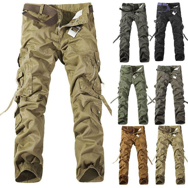 Outdoor Men Casual Cargo Combat Pants ARMY Mens Military Slacks Work Trousers