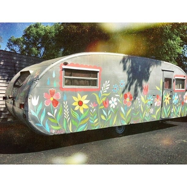 Joy Prouty's awesome camper with a custom paint job by Katie Daisy herself! Swoon!!