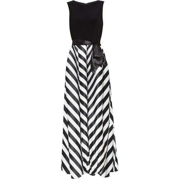 Gina Bacconi Jersey Bodice Satin Stripe Maxi Dress ($285) ❤ liked on Polyvore featuring dresses, gowns, long dress, empire waist evening dresses, long cocktail dresses, maxi dress, print maxi dress and satin evening dresses