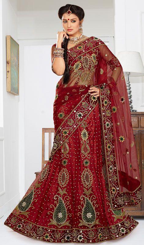 Crimson Embroidered Net Lehenga Choli Price: Usa Dollar $272, British UK Pound £159, Euro201, Canada CA$ 292, Indian Rs14688.