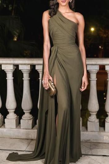 38e3042980f Sexy Plain Slim Off Shoulder Fork Evening Dress