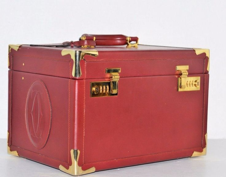 Cartier Bordeaux Leather Train Travel Beauty Cosmetic Case Box Bag #Cartier #Box #Any