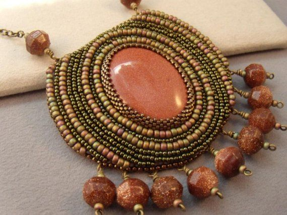 Hypnotize Me Bead Embroidered Pendant and Necklace by VanBeads, $135.00