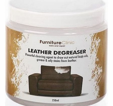 Furniture Clinic Leather Degreaser - 250ml No description (Barcode EAN = 5060202370078). http://www.comparestoreprices.co.uk/leather-furniture/furniture-clinic-leather-degreaser--250ml.asp