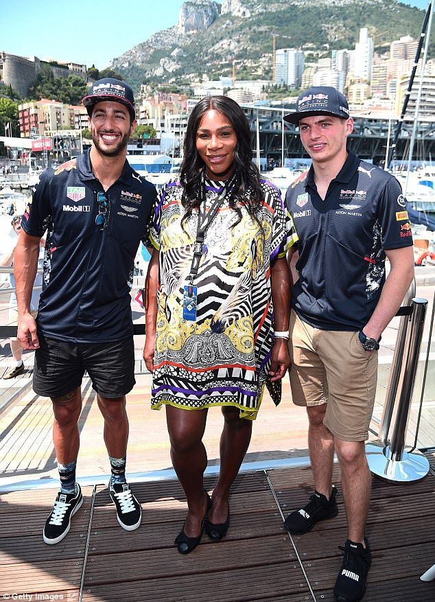 Bumping along! Pregnant Serena Williams continued to show off her bump in a thigh-skimming dress at Monaco Formula One Grand Prix at Circuit de Monaco in Monte-Carlo on Sunday
