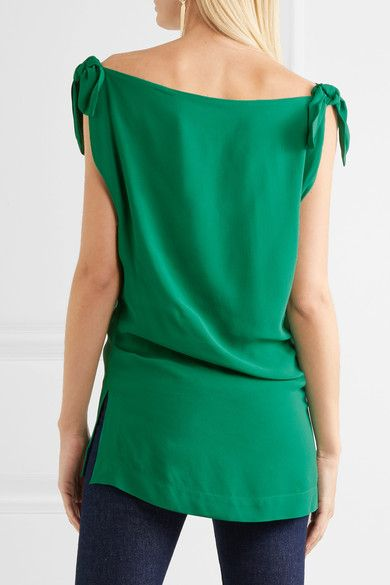 Vivienne Westwood Anglomania - Shore Bow-detailed Georgette Top - Green