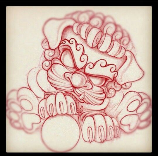 Ready and perfect for tattooing! Foo dog.