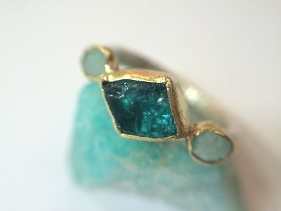18kt Gold & Sterling Silver Organic Raw Aqua Gemstone Ring  This Neon Apatite is Raw and Glowing in its rough form wrapped in an 18kt Royal