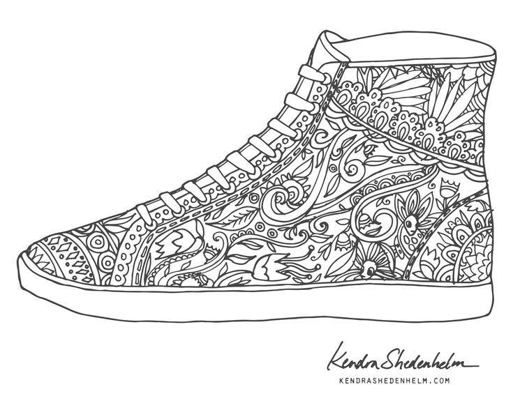 210 best Shoes Coloring Pages for Adults images on Pinterest | Adult ...