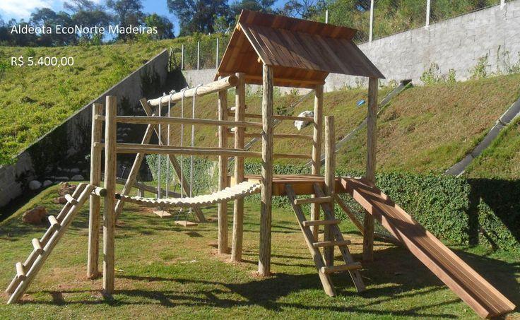 Playground Em Eucalipto Tratado, Brinquedos De Madeira. - R$ 3.950,00 no MercadoLivre                                                                                                                                                      Mais