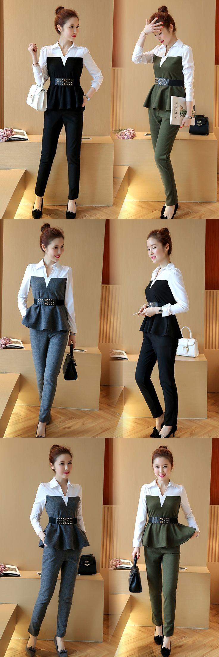 Korean Fashion 2017 Spring Women Patchwork Puffles Shirt Slim Pencil Pants Clothing Set Office Suits Trousers Two-Piece Outfit