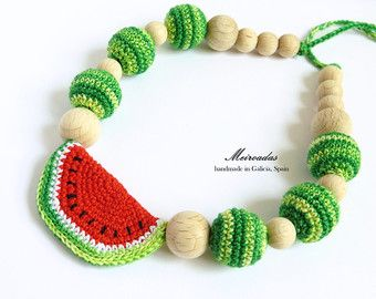 Crochet snail necklace Nursing necklace with toy by Meiroadas