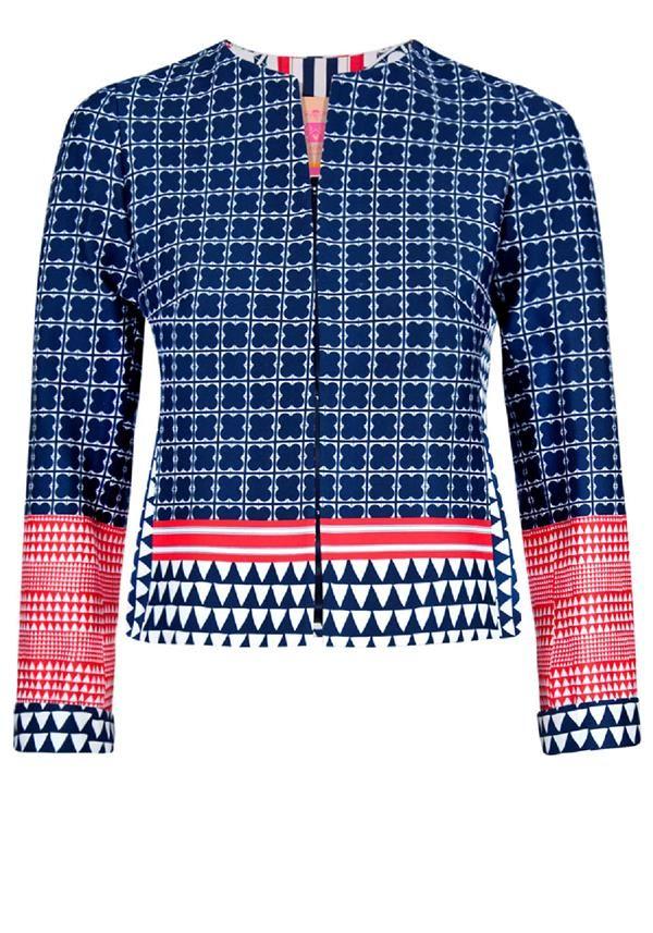 Vilagallo Lina Multi Print Jacket, Blue Multi | McElhinneys Department Store