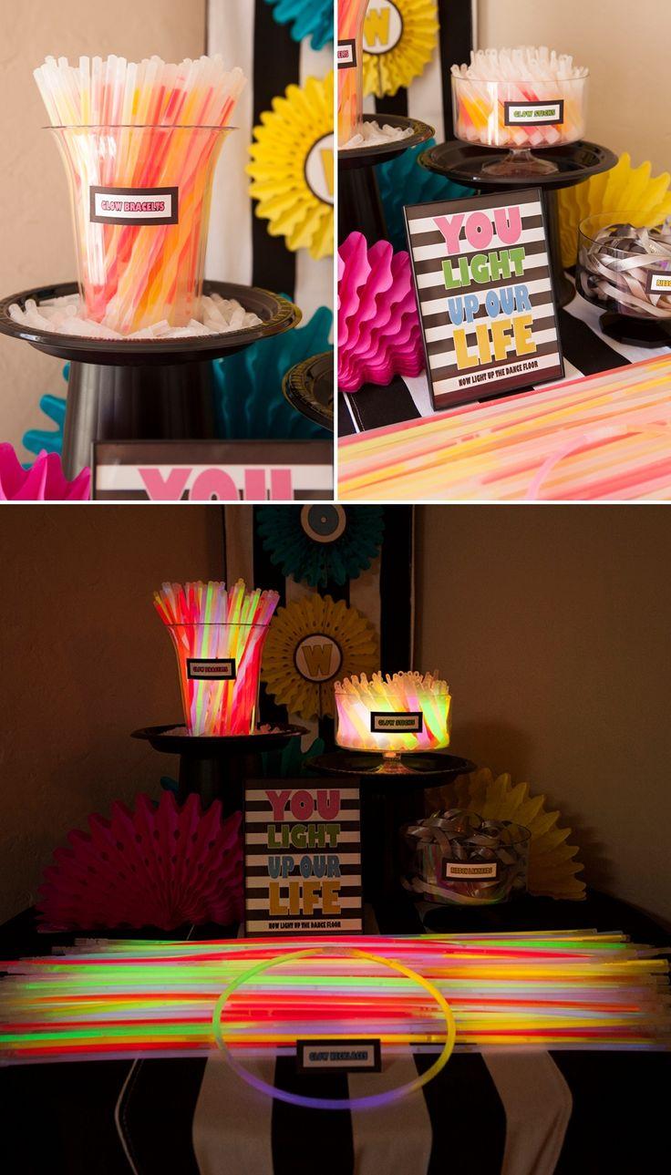 Awesome diy wedding glow stick bar idea!