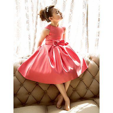 A-line+/+Princess+Tea-length+Flower+Girl+Dress+-+Satin+Short+Sleeve+Jewel+with+Bow(s)+–+USD+$+59.99