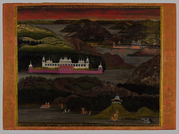 Attributed to Nihal Chand (fl. 1725-82). The Gundalao Lake. Opaque watercolor, gold and silver on paper, India, Rajasthan, ca. 1740, This picture can be attributed to the Delhi trained artist Nihal Chand (fl. ca. 172582), the greatest of the Kishangarh painters. Nihal Chand specialized in moody, deeply receding landscapes as well as depictions of episodes in the love affair of Radha and Krishna, with the two figures positioned beneath, as here, spectacularly romantic sunset skies. ...