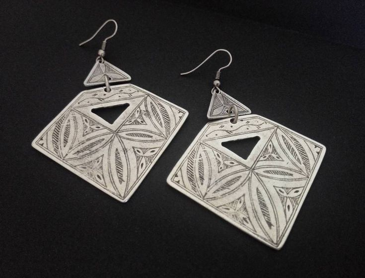 Boho Chic Earrings | Antique Silver Plated Earrings | Tribal Earrings | Pendientes | Boho Ethnic Earrings | Gipsy Earrings | Aztec Earrings