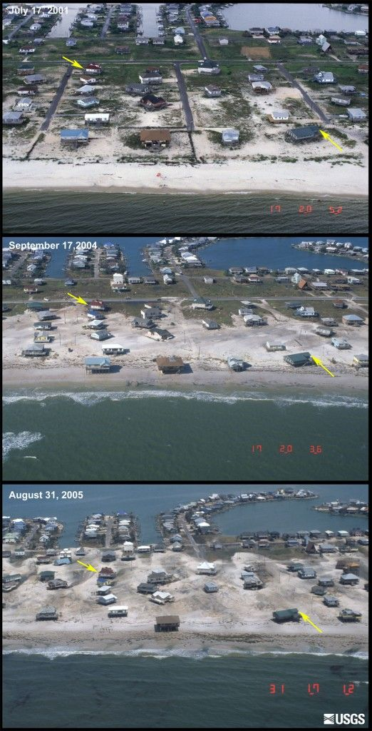 These photos show the changes that have occurred in the recent hurricane seasons to a developed section of Dauphin Island, a barrier island off the coast of Alabama. The top image was taken in July 2001, before Hurricane Lili (2002). The middle photograph was taken on September 17, 2004, immediately after the passage of Hurricane Ivan. The bottom image was acquired on August 31, 2005, two days after Hurricane Katrina. These photographs show overwash deposits extending roughly half way…