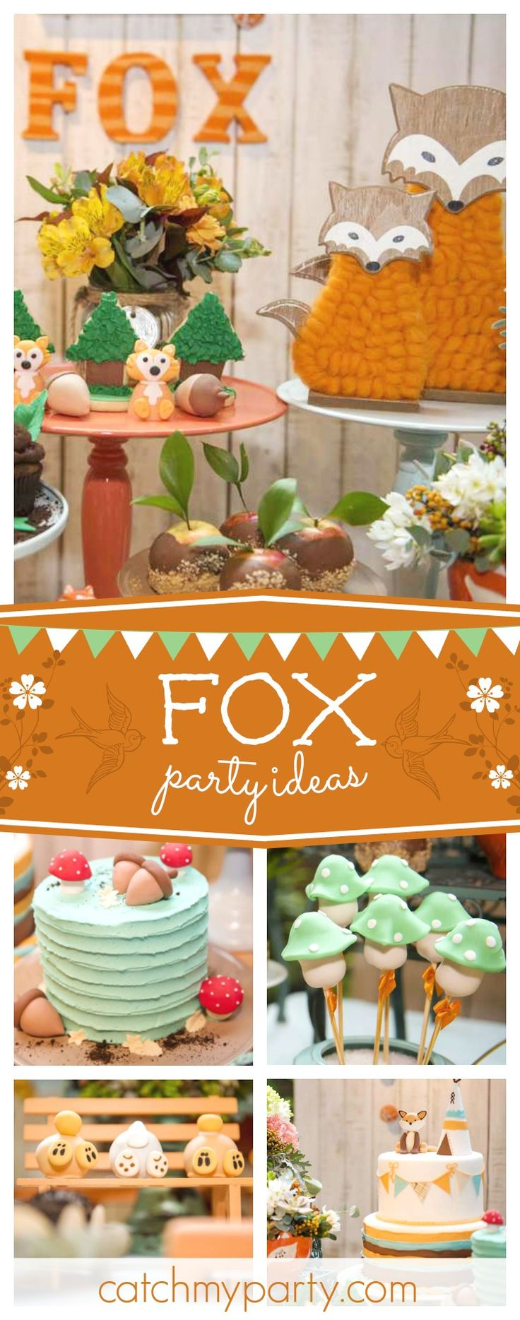Check out this adorable little fox birthday party! The cake pops are too cute!! See more party ideas and share yours at CatchMyparty.com #partyideas #fox #woodland animals