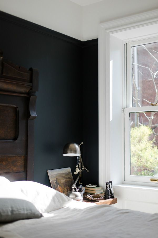 The Calmness In This Bedroom The Dark Paint The Headboard The Light Black Bedroom Wallsbedroom