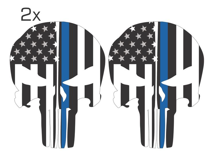 Blue Line Black and White Solid Color Punisher Skull Decal Pack of 2