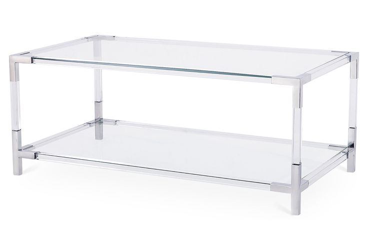 This Ultra Modern Coffee Table Is Fashioned With An Acrylic Frame And Gleaming Steel Accents