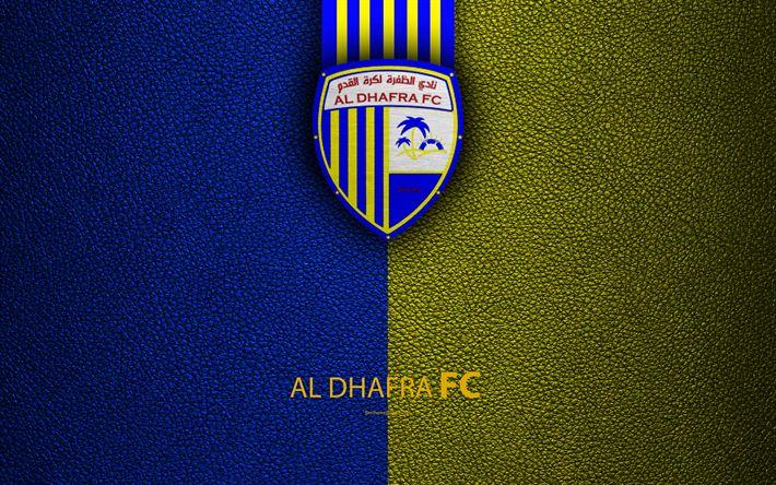Download wallpapers Al Dhafra FC, 4K, logo, football club, leather texture, UAE League, Madinat Zayed, United Arab Emirates, football, Arabian Gulf League
