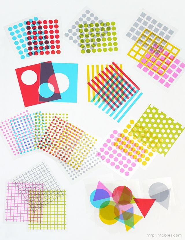 Play with shapes color overlays - printable cards for transparency film
