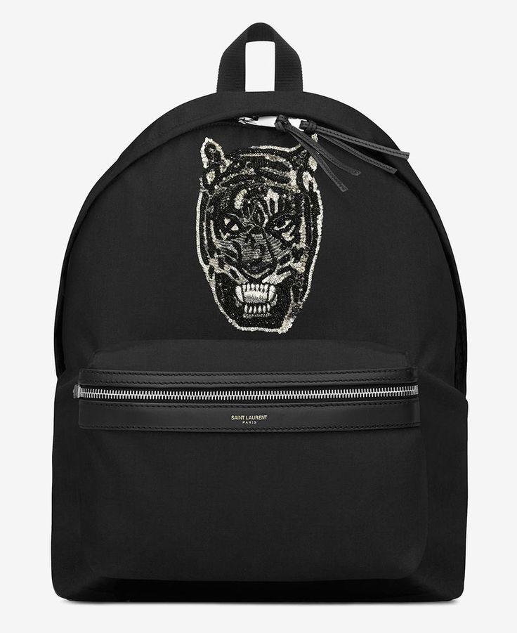 YSL SAINT LAURENT CITY TIGER PATCH BACKPACK BLACK CANVAS LEATHER 437087GR02F1000 #YSLSAINTLAURENT #Backpack
