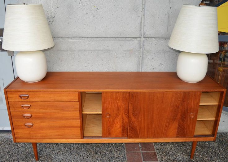 "Kai Kristiansen Danish Teak Credenza with Iconic ""Smile"" Drawer Pulls 