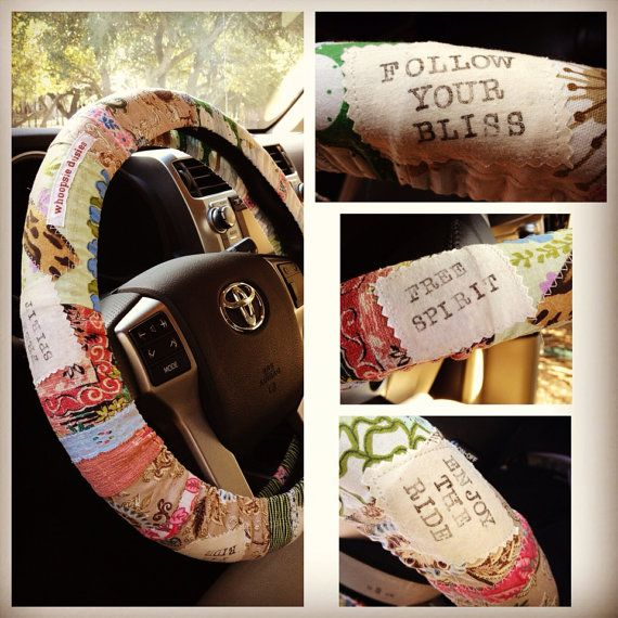 Follow Your Bliss Hippie Chic Non-Slip Steering Wheel Cover on Etsy, $25.00